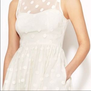 Jill Stuart Jill Polka Dot Off White Mesh Dress XS